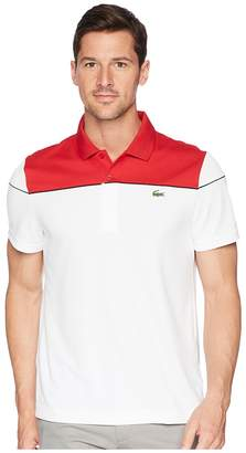 Lacoste Short Sleeve Pique Ultra Dry w/ Color Block Yoke Contrast Piping Men's Short Sleeve Pullover