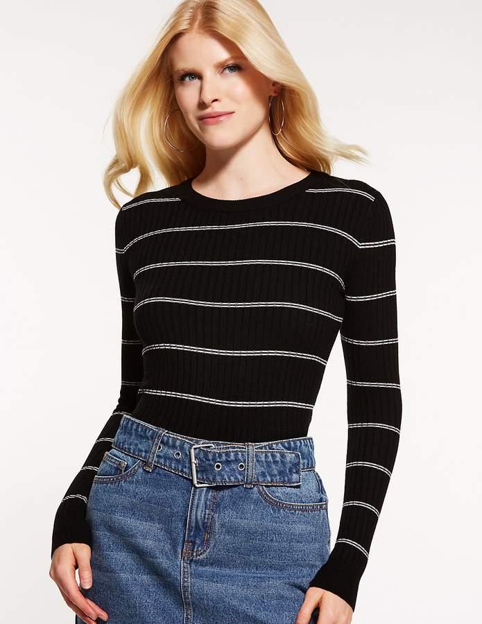 Charlotte Russe Striped Crew Neck Sweater