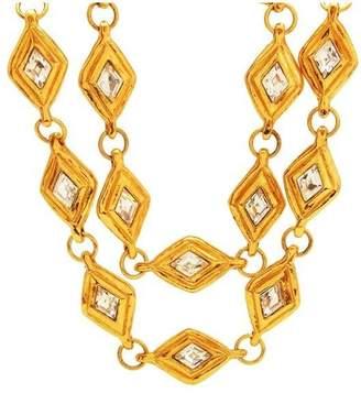 Chanel CC Logo Gold Tone Metal Rhinestone Chain Necklace
