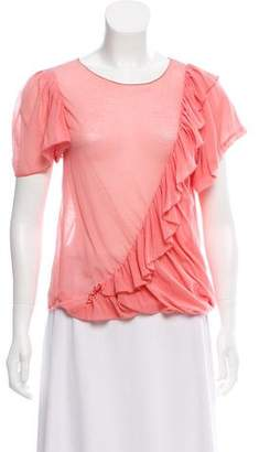 Nina Ricci Ruffle-Trimmed Short Sleeve Top