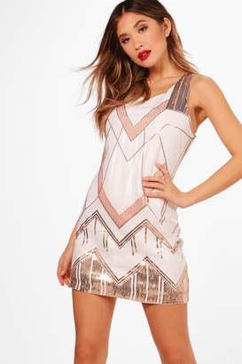 boohoo Boutique Sequin Panelled Shift Dress