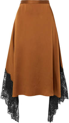 Christopher Kane Asymmetric Lace-paneled Satin Midi Skirt - Brown