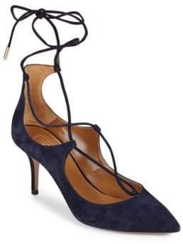 Aquazzura Christy Ankle Lace-Up Leather Pumps