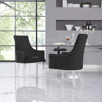 Asstd National Brand Inspired Home Set of 2 Winona Velvet Acrylic Leg Square Arm Dining Chairs