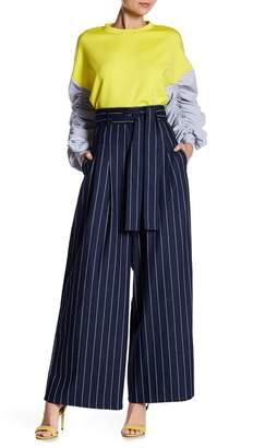 Gracia High Waisted Stripe Wide Leg Pants