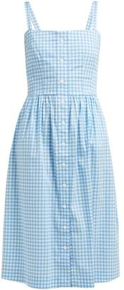 HVN Laura Gingham Cotton Midi Dress - Womens - Blue Multi
