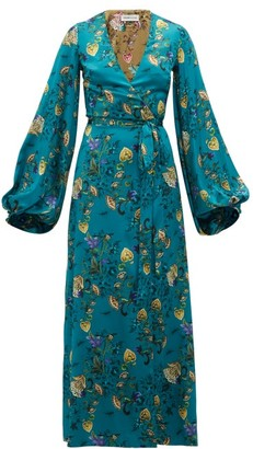 Adriana Iglesias Floral Printed Silk Blend Wrap Dress - Womens - Blue Multi