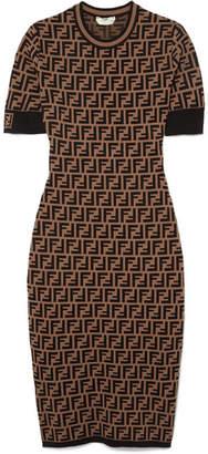 Fendi Stretch Jacquard-knit Dress - Dark brown