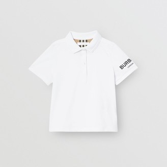 Burberry Logo Print Cotton Pique Polo Shirt