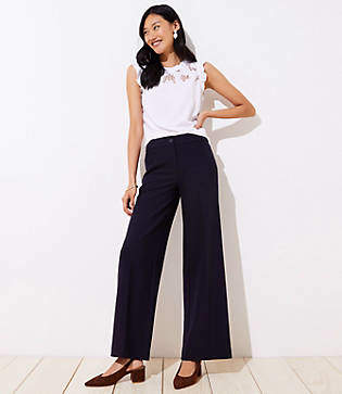 LOFT Petite High Waist Wide Leg Trousers in Marisa Fit