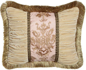 """Sweet Dreams Alessandra Pillow with Ruched Velvet Sides & Brush Fringe, 16"""" x 21"""""""