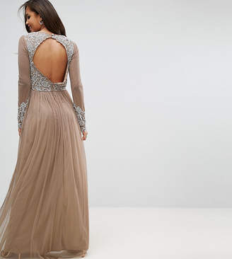 Maya Tall Long Sleeve Open Back Lace Detail Maxi Dress