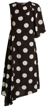 Anna October - Asymmetric Polka Dot Print Crepe De Chine Dress - Womens - Black White
