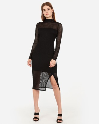 Express Mock Neck Ribbed Midi Dress