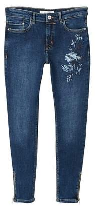 MANGO Floral embroidery slim jeans