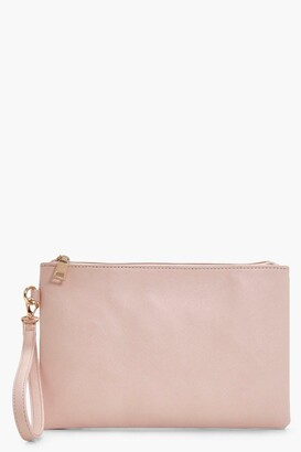 Boohoo Cross Hatch Zip Top Clutch Bag