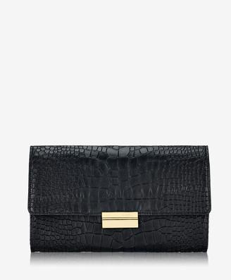 GiGi New York Melrose Clutch, Black Embossed Nappa Croco Leather
