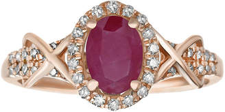 FINE JEWELRY 1/4 CT. T.W. Diamond and Lead Glass-Filled Ruby 10K Rose Gold Ring