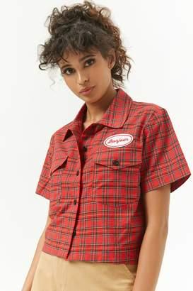 Forever 21 Plaid Bonjour Patch Shirt