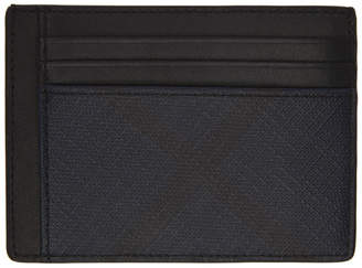 Burberry Black and Navy London Check Bernie Card Holder