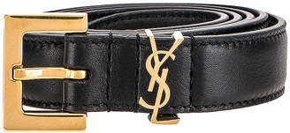 Saint Laurent Leather Monogramme Belt in Black | FWRD