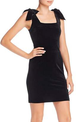 Aqua Velvet Bow-Detail Mini Dress - 100% Exclusive