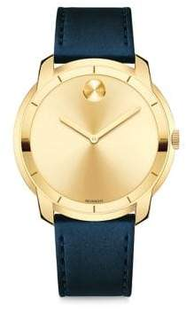 Movado Large Bold Crystal& Stainless Steel Leather-Strap Watch