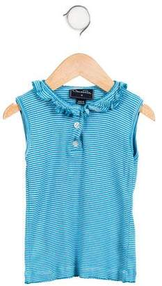 Oscar de la Renta Girls' Striped Sleeveless Top