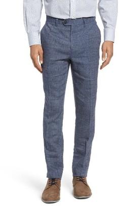Men's Ted Baker London Gridtro Slim Fit Crosshatch Linen Blend Trousers $225 thestylecure.com