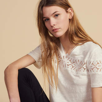 Sandro Linen T-Shirt With Lace