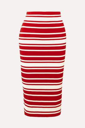 Prada Striped Ribbed-knit Midi Skirt