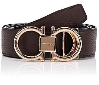 Salvatore Ferragamo Men's Reversible Double Gancini Leather Belt - Brown