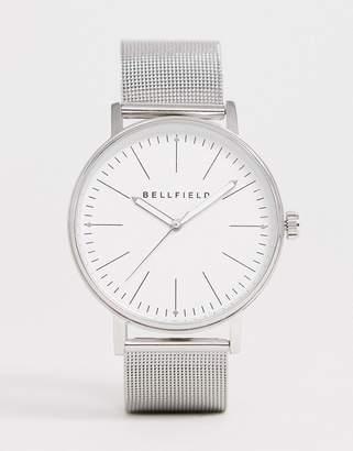 Bellfield mens silver mesh bracelet watch
