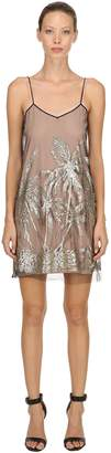 N°21 Glittered Palm Trees Tulle Mini Dress