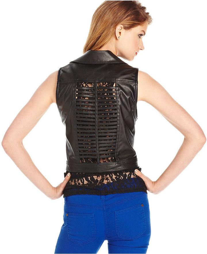 XOXO Juniors Jacket, Faux-Leather Studded Moto Vest