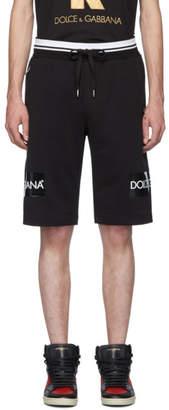 Dolce & Gabbana Black Embroidered Logo Tape Shorts