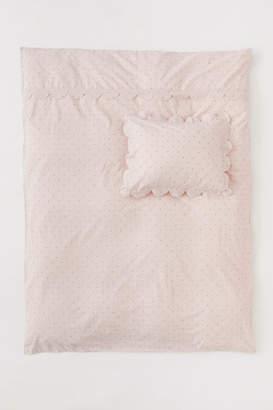 H&M Scalloped-edge Duvet Cover Set - Pink