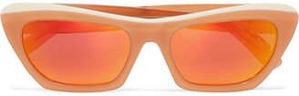 Acne Studios Azalt Embellished Cat-eye Acetate Mirrored Sunglasses - Orange