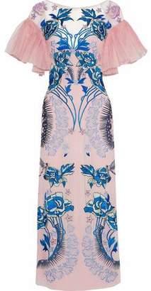 Temperley London Pleated Organza-Paneled Embroidered Silk-Georgette Midi Dress