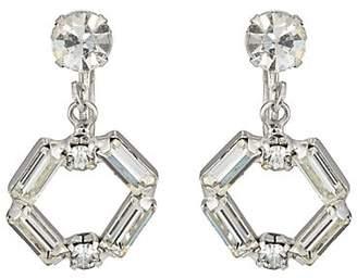 Loren Stazia Women's 1960s Diamanté Clip-On Hoop Earrings - Silver