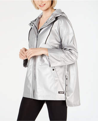Calvin Klein Snap-Side High-Low Hem Rain Jacket