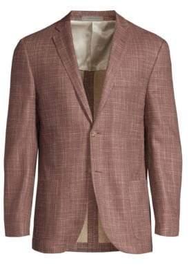 Corneliani Printed Silk Two-Button Blazer