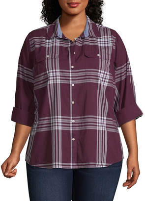 ST. JOHN'S BAY Long Sleeve Button Up Classic Shirt - Plus