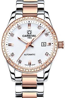 Carnival カーニバルWomens Sapphire自動機械腕時計ローズゴールドステンレススチール防水時計
