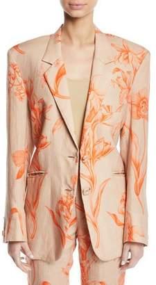 Johanna Ortiz La Charanga Floral-Print Linen Two-Button Blazer