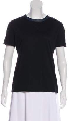 Balenciaga Short Sleeve Leather-Trimmed Top