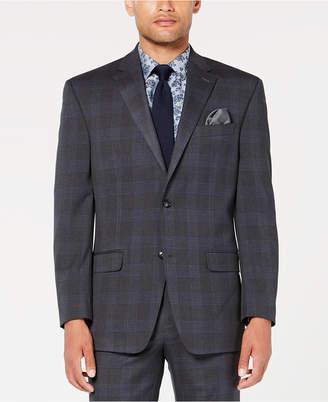 Sean John Men Classic-Fit Stretch Gray/Blue Plaid Suit Jacket