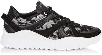 Jimmy Choo SEATTLE Black Mix Floral Lace on Mesh and Leather Trainers