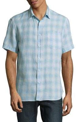 Black & Brown Black Brown Plaid Linen Short-Sleeve Shirt