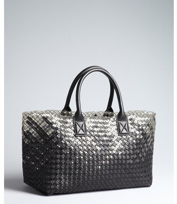 Bottega Veneta clear intrecciato rubber and black leather large tote bag